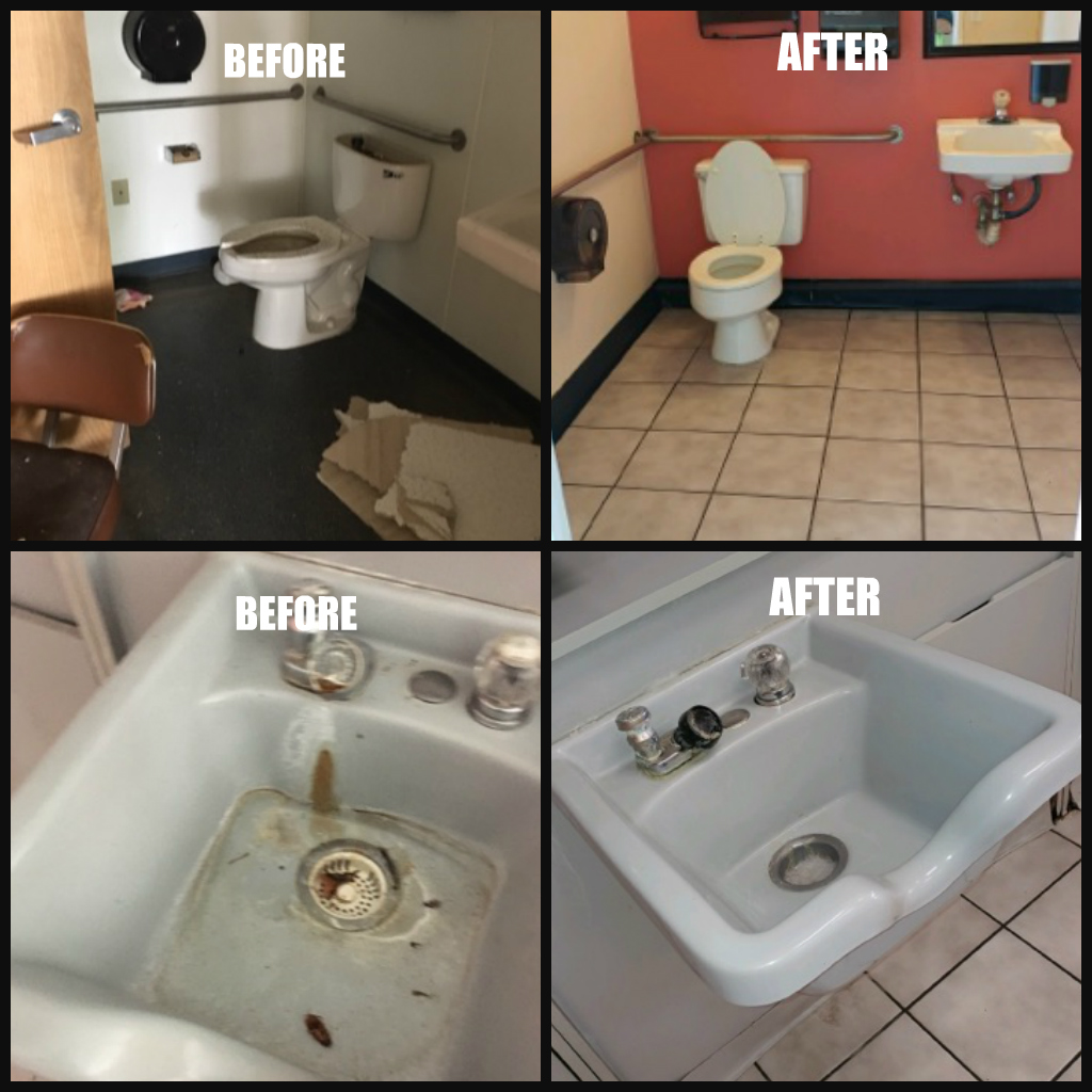 Before and after our commercial cleaning in Ontario, CA