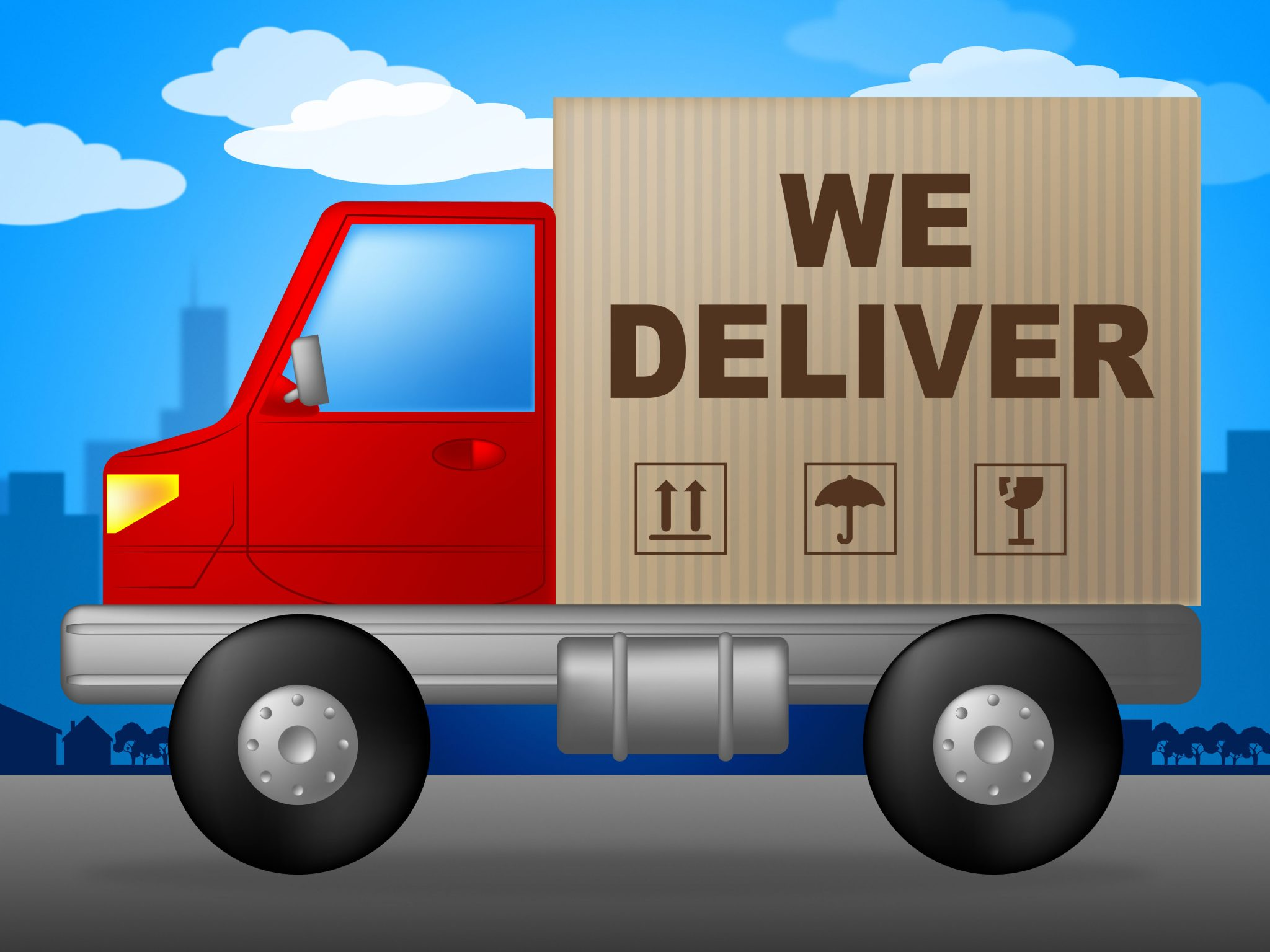 We Deliver Representing Delivery Vehicle And Transporting
